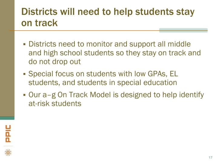 Districts will need to help students stay on track