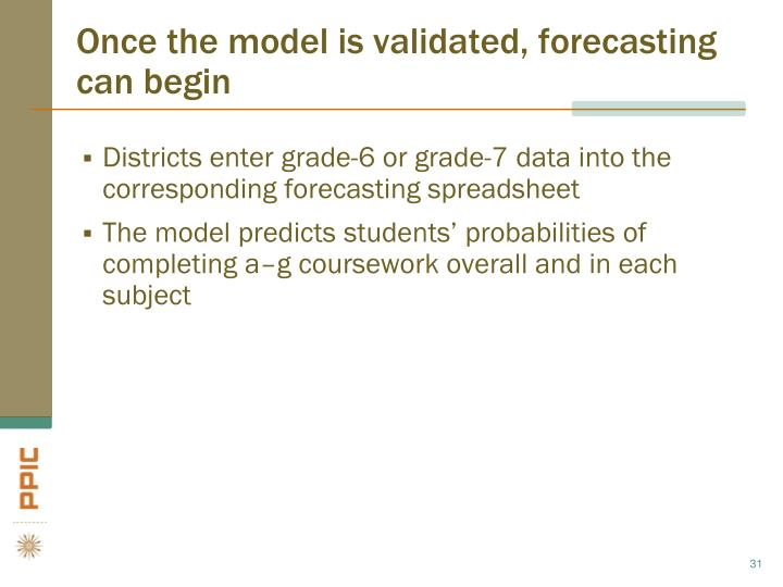 Once the model is validated, forecasting can begin