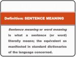 definition sentence meaning