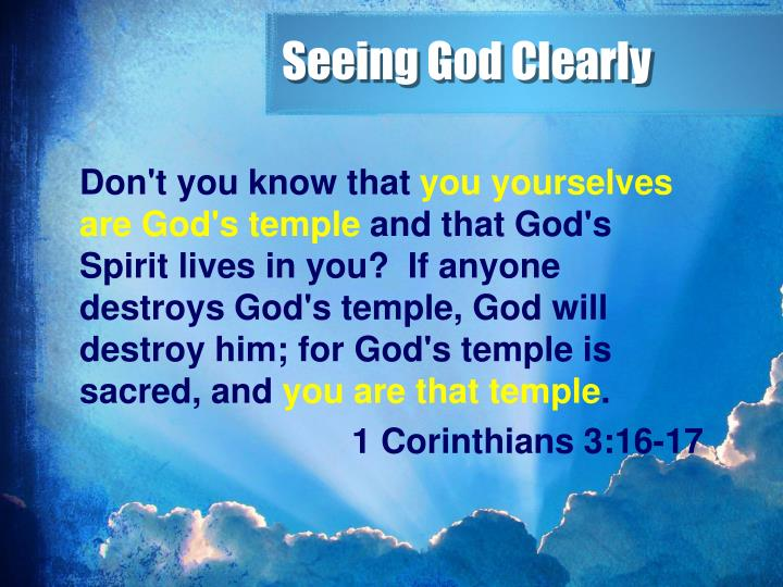 Seeing God Clearly