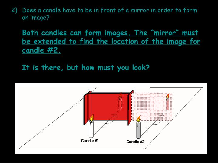 Does a candle have to be in front of a mirror in order to form an image?
