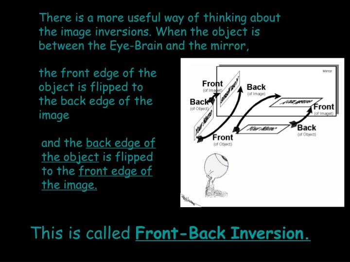 There is a more useful way of thinking about the image inversions. When the object is between the Eye-Brain and the mirror,
