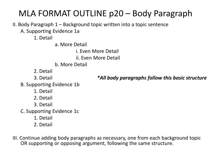 MLA FORMAT OUTLINE p20 – Body Paragraph