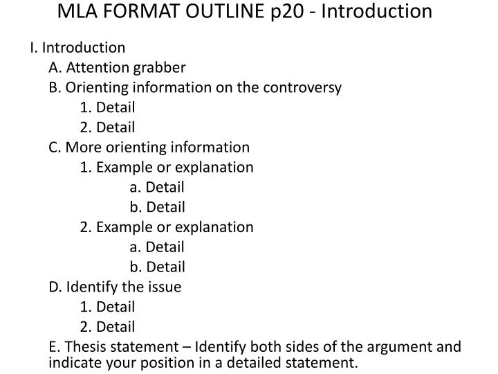 MLA FORMAT OUTLINE p20 - Introduction