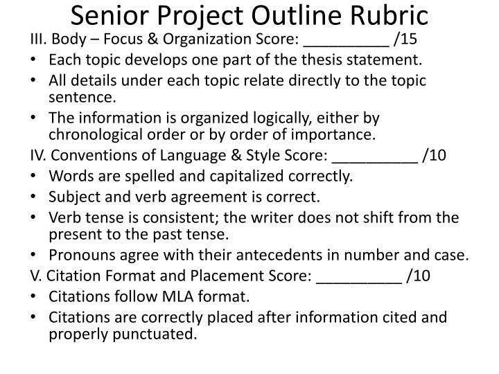 Senior Project Outline Rubric