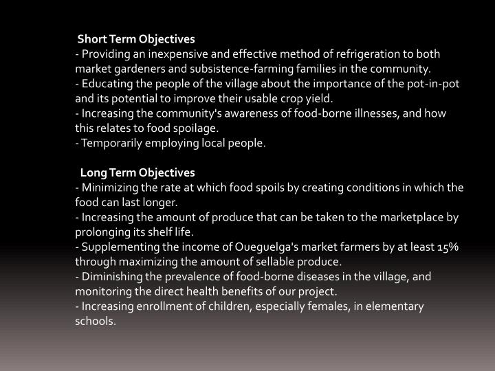 Short Term Objectives