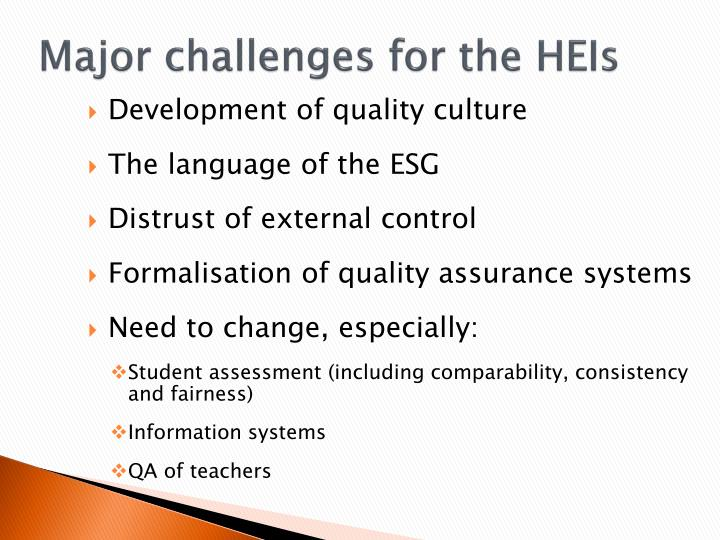 Major challenges for the HEIs