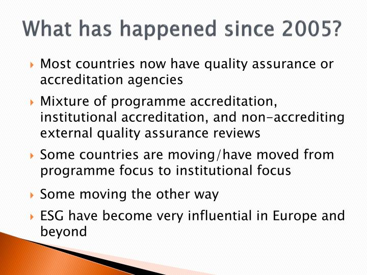 What has happened since 2005?