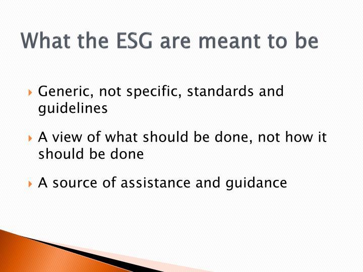 What the ESG