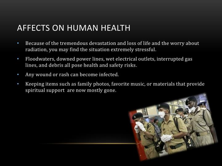 Affects on human health