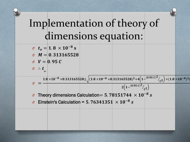 Implementation of theory of dimensions equation: