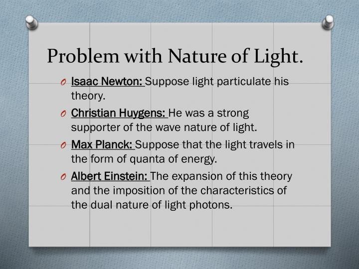 Problem with nature of light