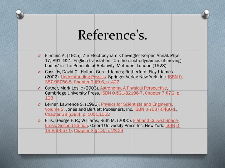 Reference's.