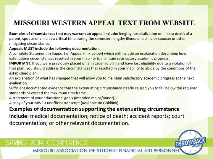 Missouri Western appeal text from website