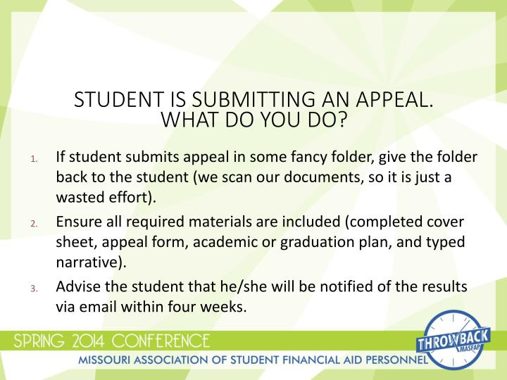 Student is Submitting an Appeal.