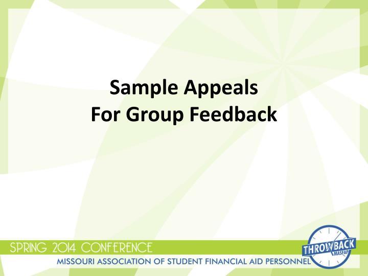 Sample Appeals