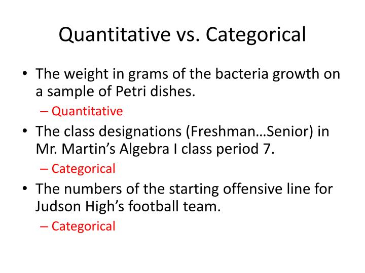 Quantitative vs. Categorical