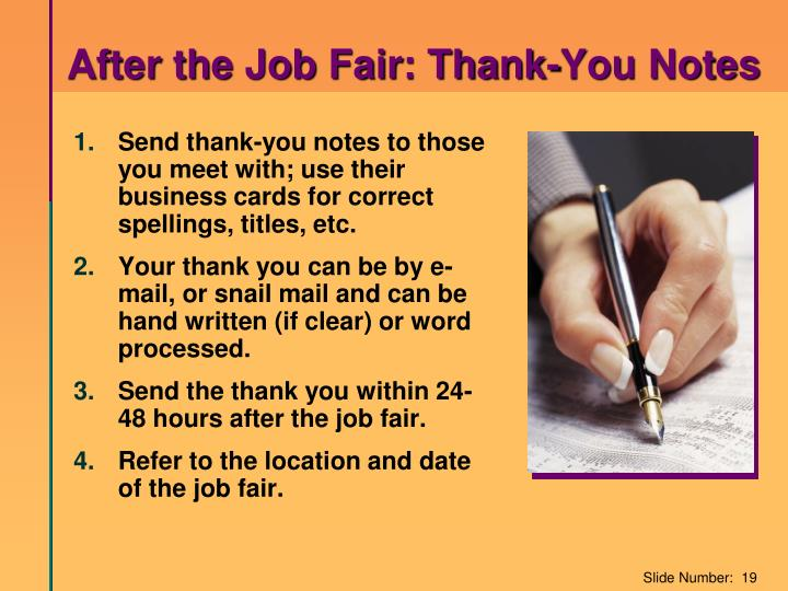After the Job Fair: Thank-You Notes
