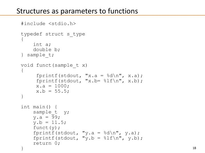 Structures as parameters to functions