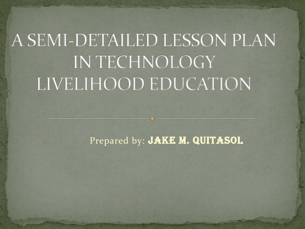 lesson plan in technology and livelihood education
