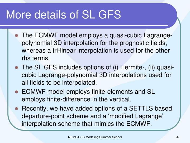 More details of SL GFS