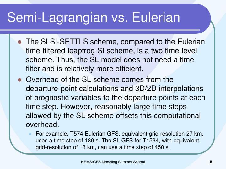 Semi-Lagrangian vs. Eulerian