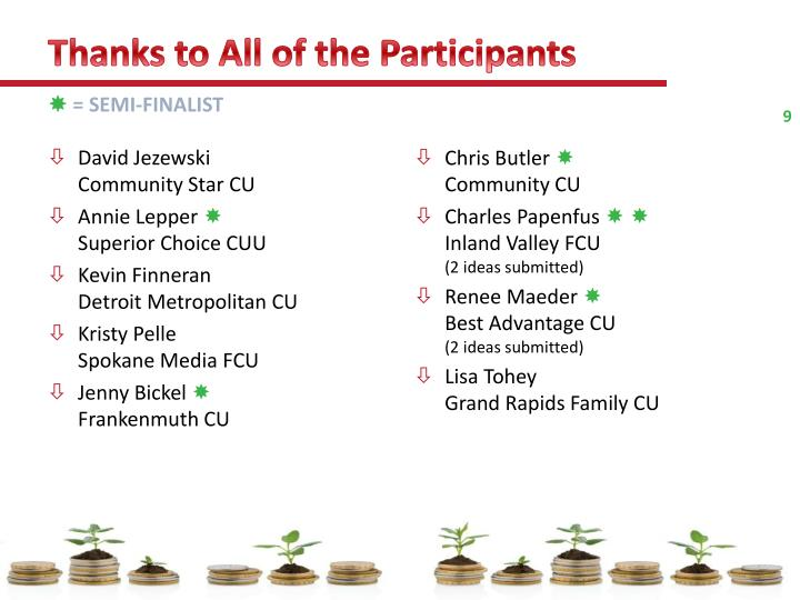 Thanks to All of the Participants