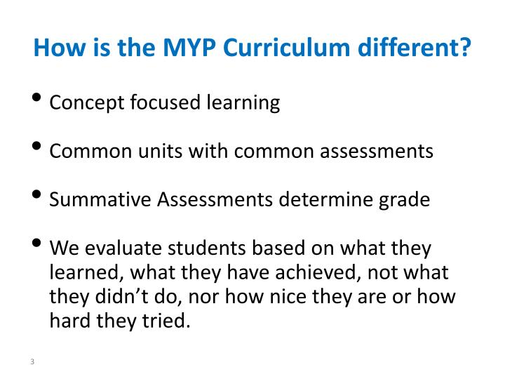 How is the myp curriculum different
