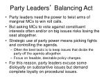 party leaders balancing act