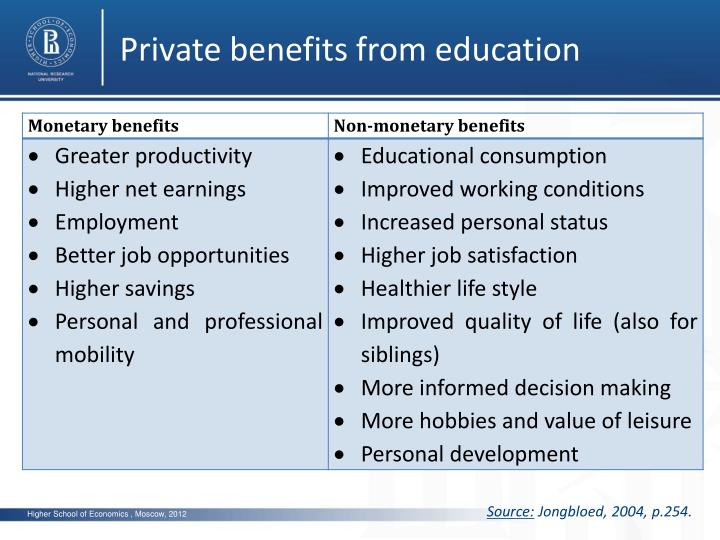 Private benefits from education