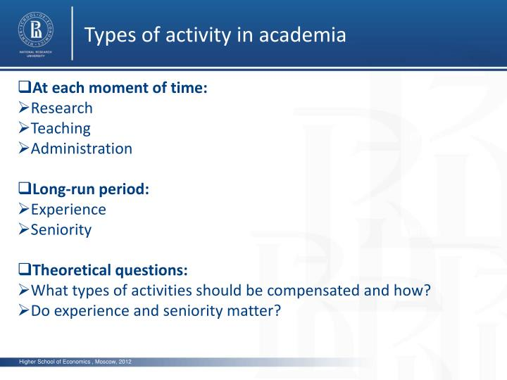 Types of activity in academia