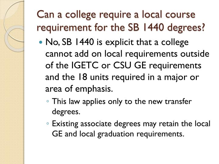 Can a college require a local course