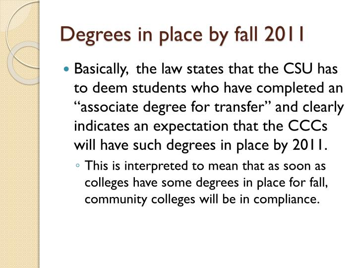 Degrees in place by fall 2011
