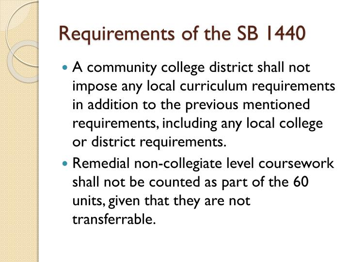 Requirements of the SB 1440