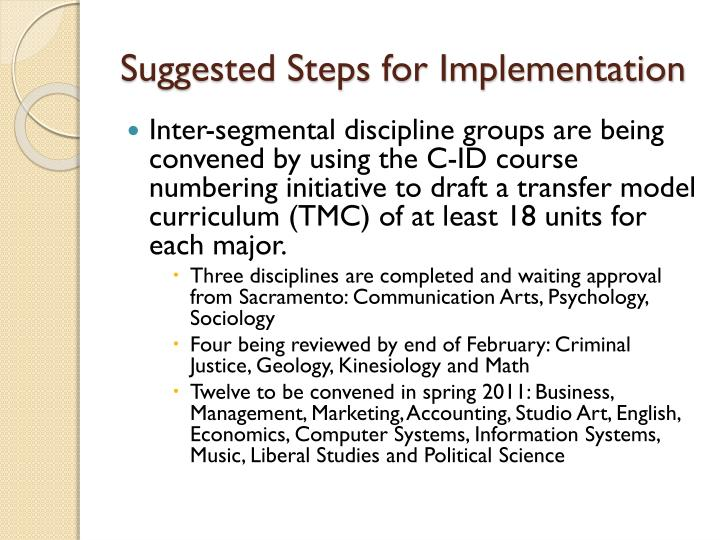 Suggested Steps for Implementation