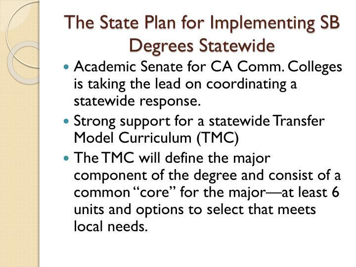 The State Plan for Implementing SB Degrees Statewide