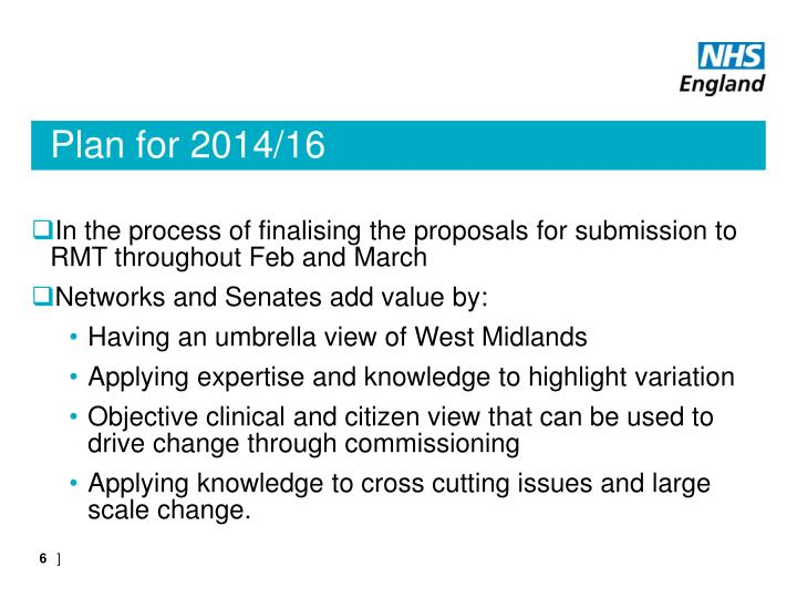 Plan for 2014/16