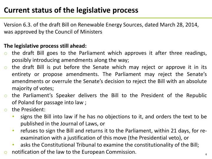 Current status of the legislative process