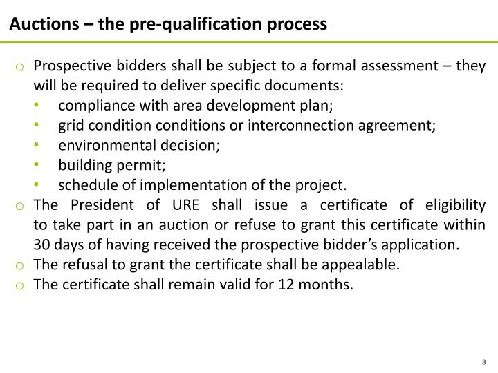 Auctions – the pre-qualification process