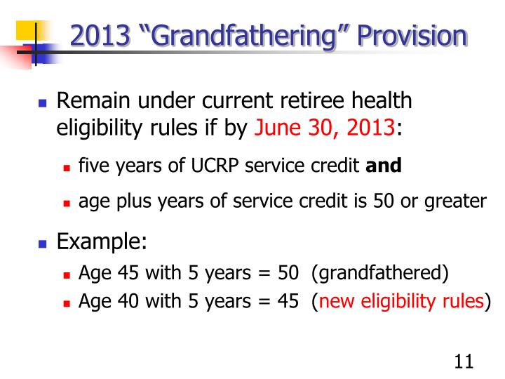 "2013 ""Grandfathering"" Provision"