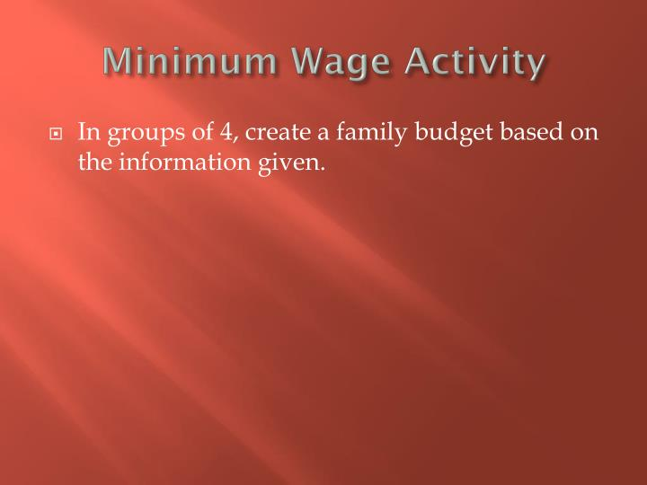Minimum wage activity