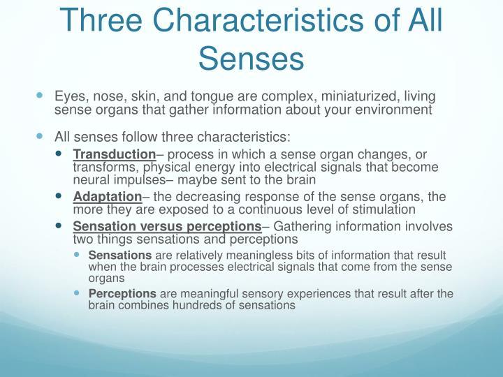 Three characteristics of all senses
