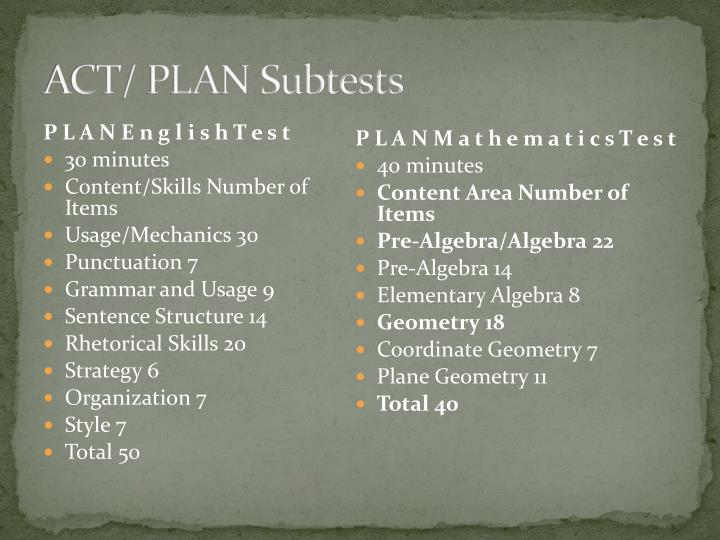 ACT/ PLAN Subtests