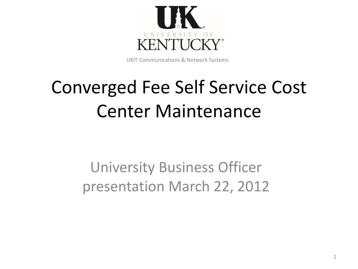converged fee self service cost center maintenance n.