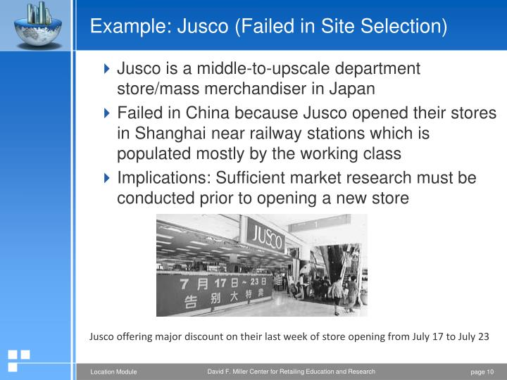 Example: Jusco (Failed in Site Selection)