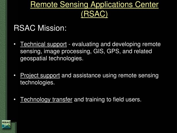 Remote sensing applications center rsac