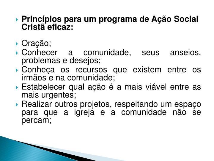 Princípios para um programa de Ação Social Cristã eficaz: