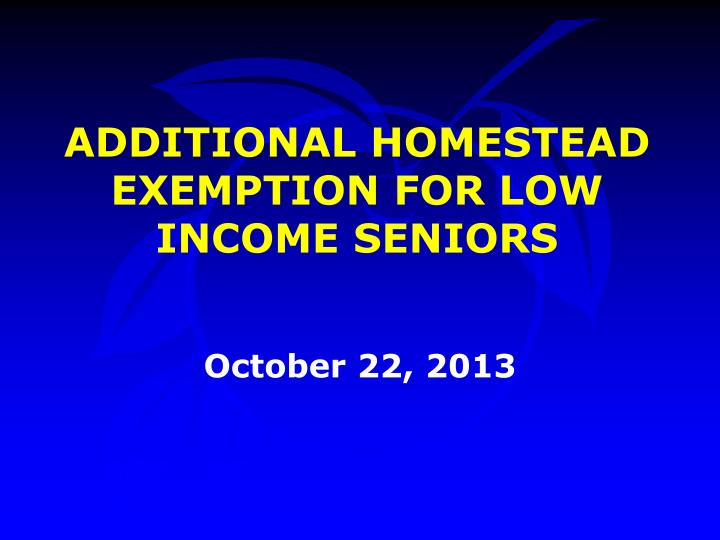 additional homestead exemption for low income seniors n.
