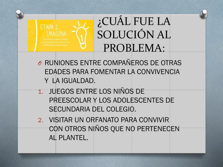¿CUÁL FUE LA SOLUCIÓN AL PROBLEMA: