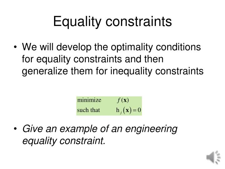 Equality constraints